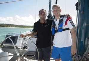 Mike Horn trains the German Football Team on board Pangaea