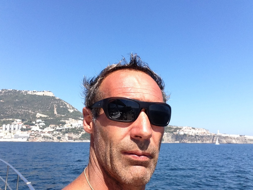 Mike Horn selfie in front of the Rock of Gibraltar