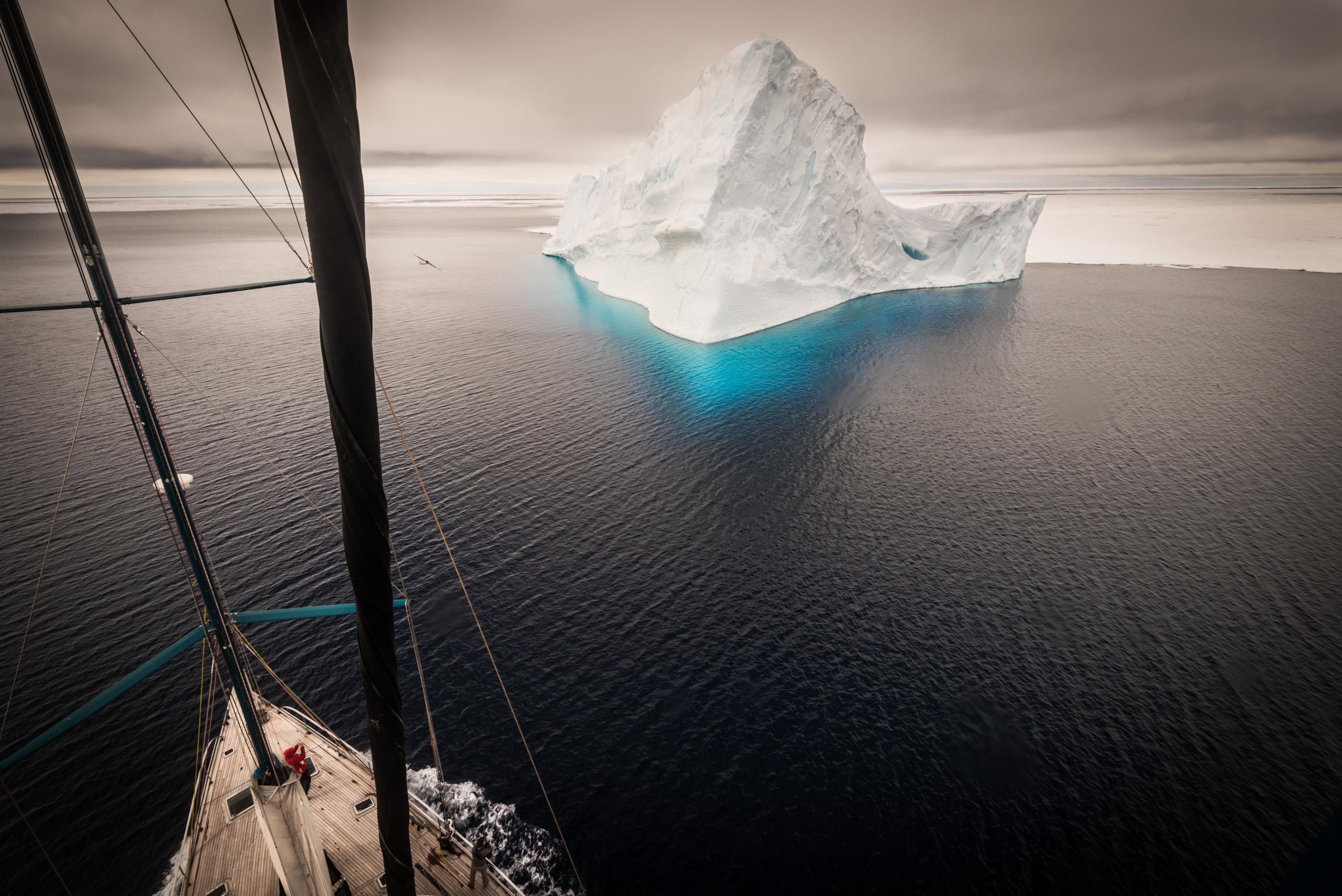 POLE2POLE expedition. Pangaea sailing in Antarctica.