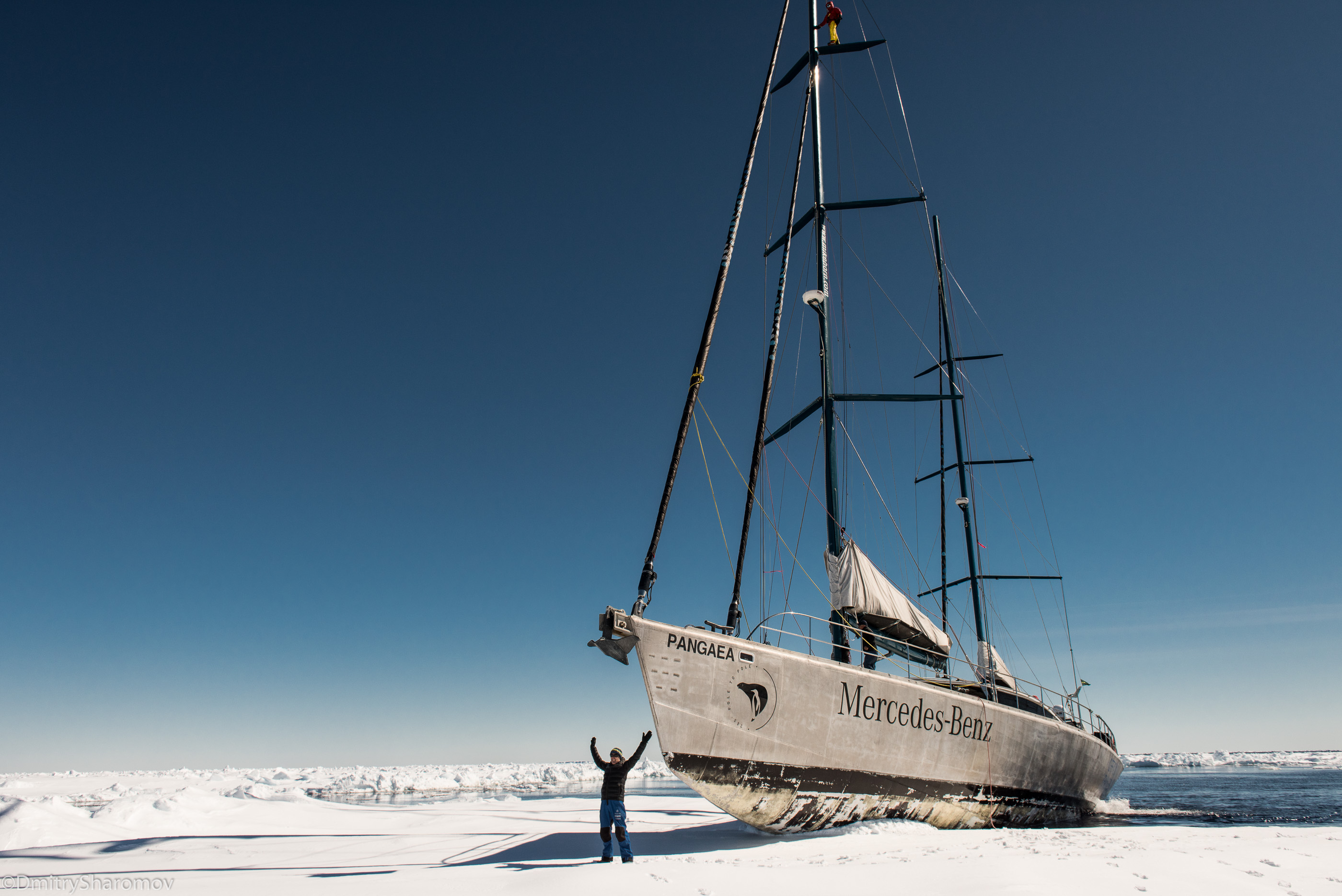 POLE2POLE expedition. Pangaea sailing in Antarctica